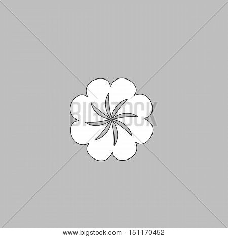 Swirl flower Simple line vector button. Thin line illustration icon. White outline symbol on grey background