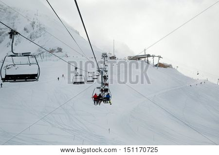 Ski lift in snowing weather
