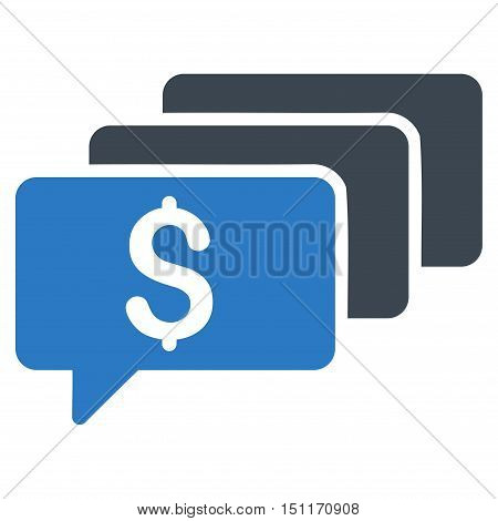 Money Messages icon. Glyph style is bicolor flat iconic symbol with rounded angles, smooth blue colors, white background.