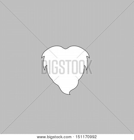 Beard Simple line vector button. Thin line illustration icon. White outline symbol on grey background