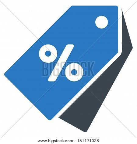 Percent Discount Tags icon. Glyph style is bicolor flat iconic symbol with rounded angles, smooth blue colors, white background.