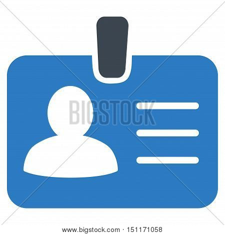 Person Badge icon. Glyph style is bicolor flat iconic symbol with rounded angles, smooth blue colors, white background.