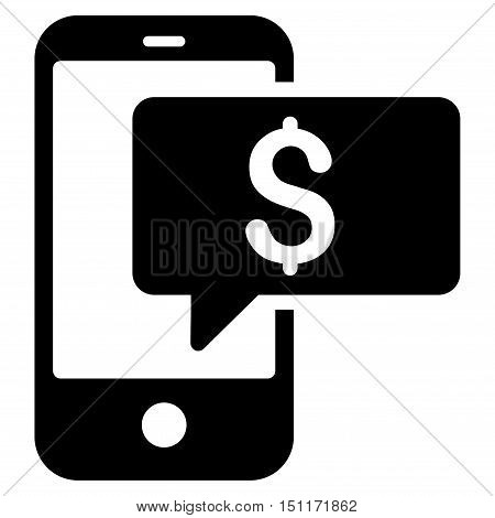 Money Phone SMS icon. Glyph style is flat iconic symbol with rounded angles, black color, white background.