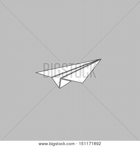 Paper Plane Simple line vector button. Thin line illustration icon. White outline symbol on grey background