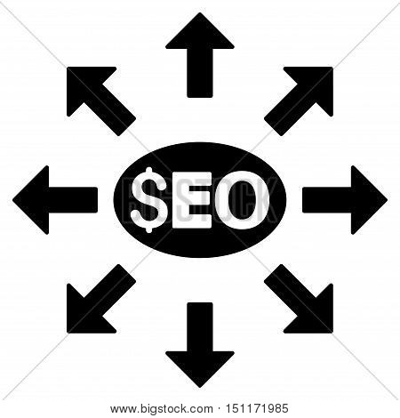 Seo Distribution icon. Glyph style is flat iconic symbol with rounded angles, black color, white background.