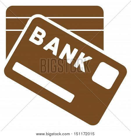 Bank Cards icon. Glyph style is flat iconic symbol with rounded angles, brown color, white background.