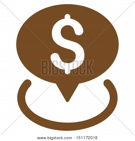 Bank Location icon. Glyph style is flat iconic symbol with rounded angles, brown color, white background.