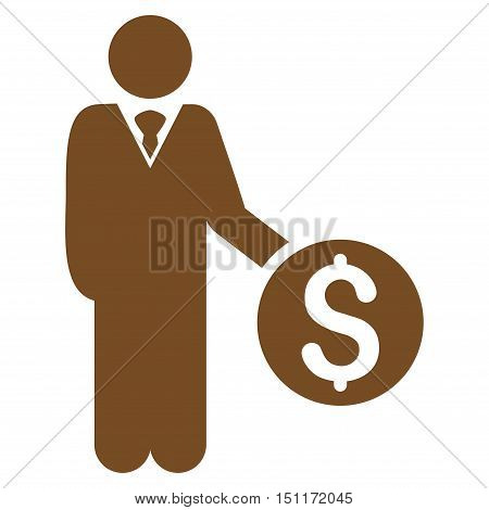 Banker icon. Glyph style is flat iconic symbol with rounded angles, brown color, white background.