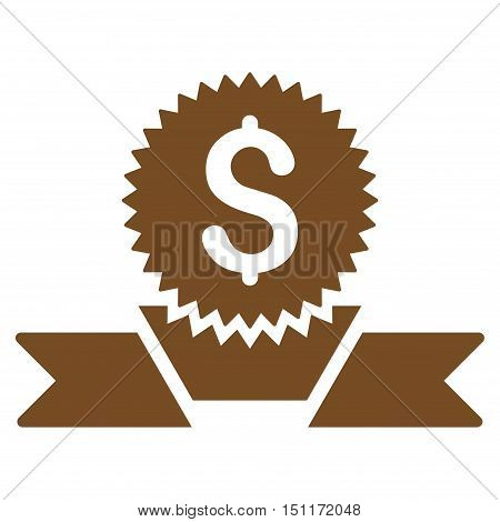 Banking Award icon. Glyph style is flat iconic symbol with rounded angles, brown color, white background.