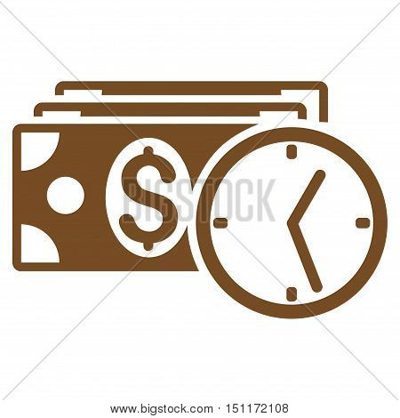 Credit icon. Glyph style is flat iconic symbol with rounded angles, brown color, white background.