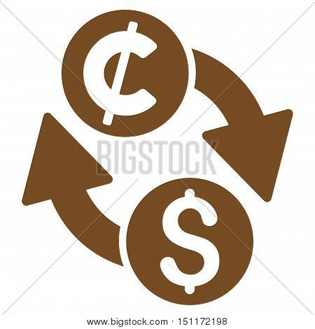 Dollar Cent Exchange icon. Glyph style is flat iconic symbol with rounded angles, brown color, white background.