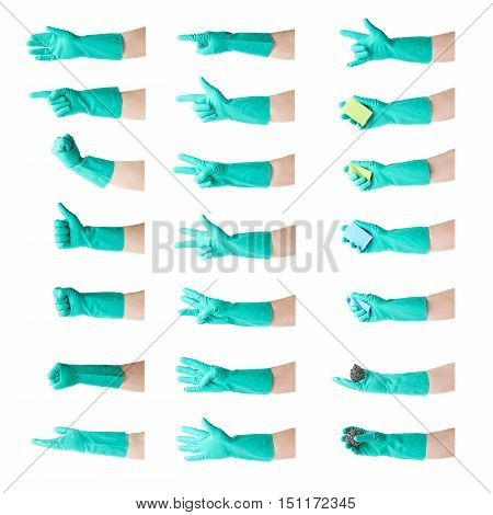 Set of hands in rubber latex green glove  showing gesture over white isolated background