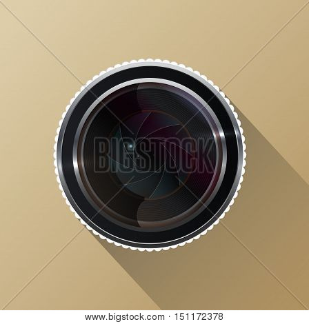 Vector illustration of Photo camera lens with shutter