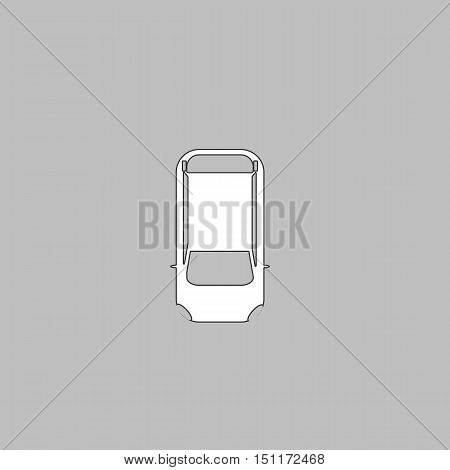 top view car Simple line vector button. Thin line illustration icon. White outline symbol on grey background