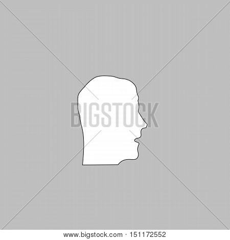 head Simple line vector button. Thin line illustration icon. White outline symbol on grey background