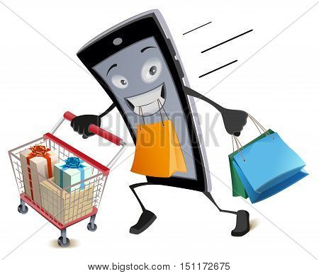 Black Friday virtual shopping. Joyful smartphone runs with shopping basket and bags. Isolated on white vector cartoon illustration
