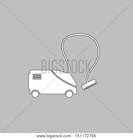 hoover Simple line vector button. Thin line illustration icon. White outline symbol on grey background
