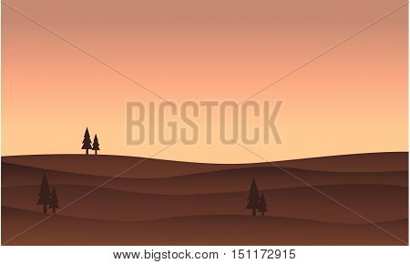 Silhouette of hill vector flat illustration collection stock