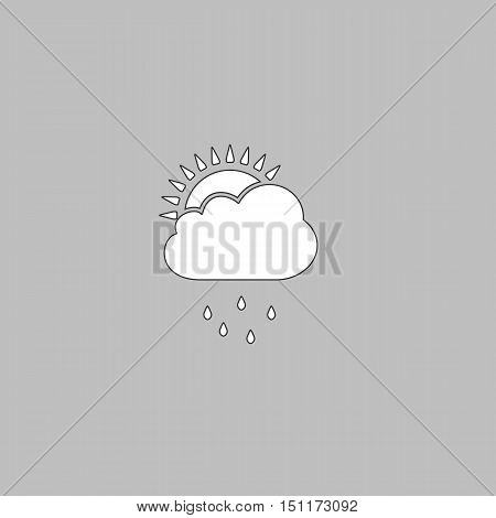 raindrops Simple line vector button. Thin line illustration icon. White outline symbol on grey background