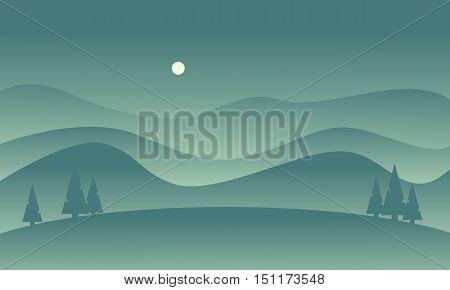 Hill scenery vetcor flat of silhouette illustration