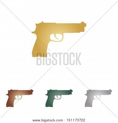 Gun Sign Illustration. Metal Icons On White Backgound.