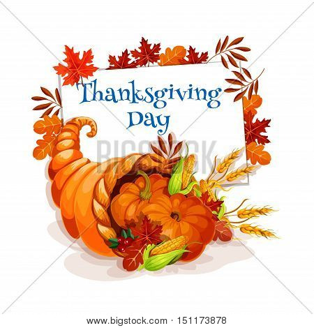 Thanksgiving Day cornucopia greeting card. Vector design template for thanksgiving invitation and greeting cards