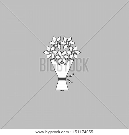 bouquet Simple line vector button. Thin line illustration icon. White outline symbol on grey background