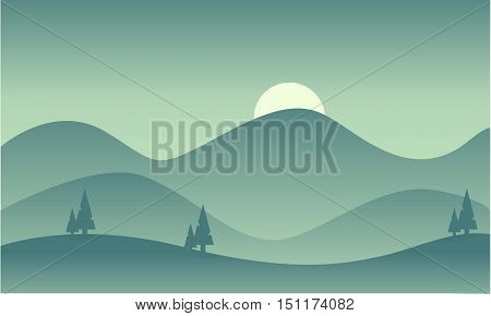Silhouette of mountain vector flat illustration collection