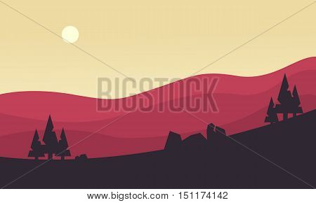 Silhouette of hill at the sunrise vector illustration