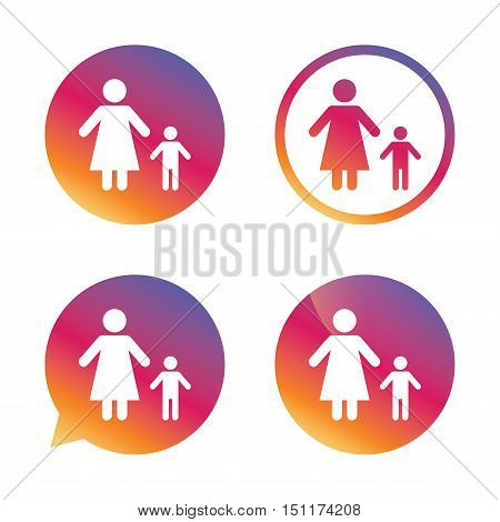 One-parent family with one child sign icon. Mother with son symbol. Gradient buttons with flat icon. Speech bubble sign. Vector