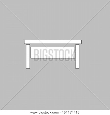 table Simple line vector button. Thin line illustration icon. White outline symbol on grey background