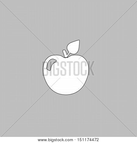 Apple Simple line vector button. Thin line illustration icon. White outline symbol on grey background