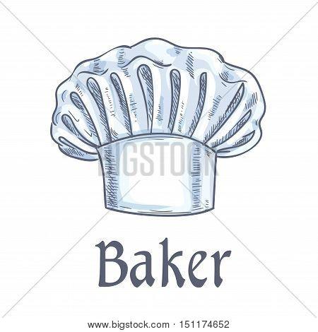 Baker hat vector doodle sketch icon. Chef toque, kitchen cooking hat emblem for restaurant design element, bakery signboard