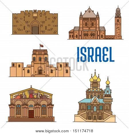 Israel vector detailed architecture icons of Lions Gate, Dormition Abbey, Rockefeller Museum, Church of All Nations, Church of Mary Magdalene. Historic buildings symbols for souvenirs, postcards