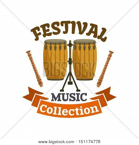 Musical drums. Music festival emblem with vector icon of cuban, african conga drums kit, drum sticks and brown ribbon
