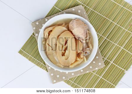 Streamed Chinese bamboo shoots with chicken in bone soup  is healthy Chinese food for body stronger and can be good