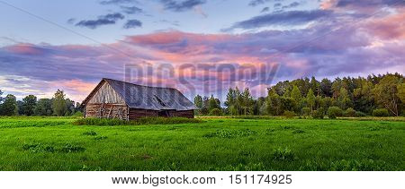 Barn in meadow/Old hay shed in the middle of meadows.