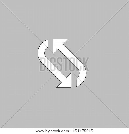 rotation Simple line vector button. Thin line illustration icon. White outline symbol on grey background