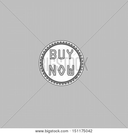 Buy Now Simple line vector button. Thin line illustration icon. White outline symbol on grey background