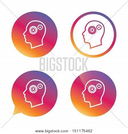 Head with gears sign icon. Male human head symbol. Gradient buttons with flat icon. Speech bubble sign. Vector