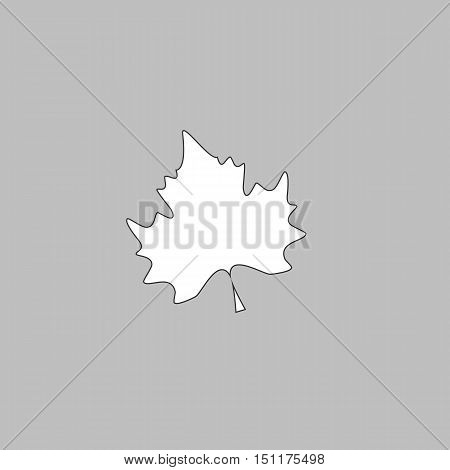Maple Leaf Simple line vector button. Thin line illustration icon. White outline symbol on grey background