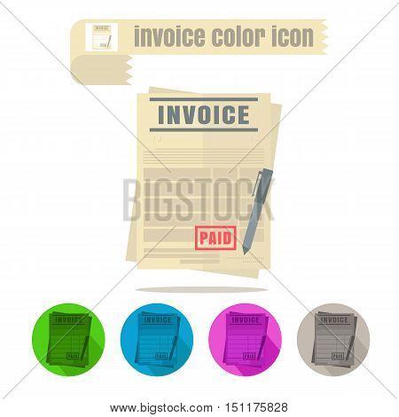 icon invoice colorful design vector on white background