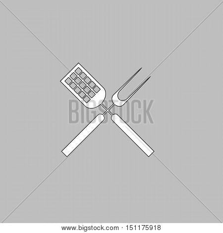 Cutters Simple line vector button. Thin line illustration icon. White outline symbol on grey background