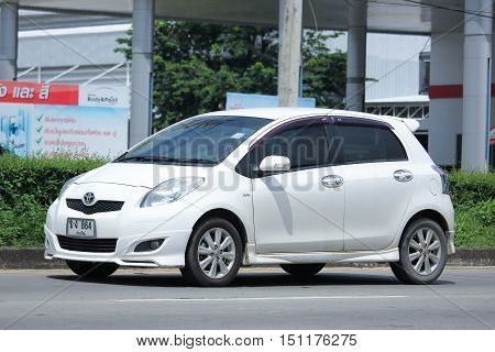 CHIANGMAI THAILAND - OCTOBER 2 2016: Private Eco car Toyota Yaris. On road no.1001 North of city about 8 km from Chiangmai Center.