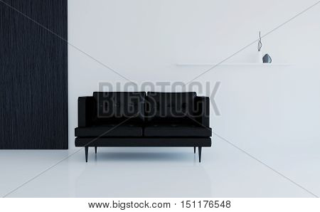 Interior hallway of the room in black and white colors. 3d illustration