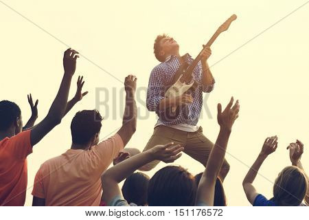 Concert Guitar Joyful Happy Gathering Group Concept