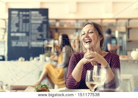 Women Enjoy Drinks Club Restaurant Smiling Concept