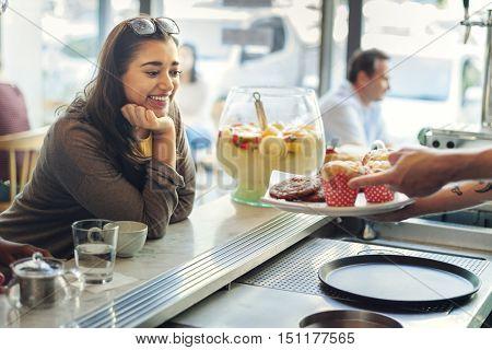Coffee Shop Sweet Dessert Enjoyment Happiness Concept