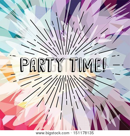 party time text show sunrays retro theme vector