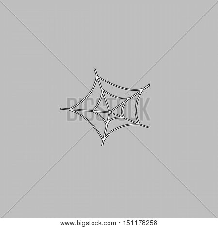 Spiderweb Simple line vector button. Thin line illustration icon. White outline symbol on grey background